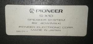 Pioneer SX-10 銘板