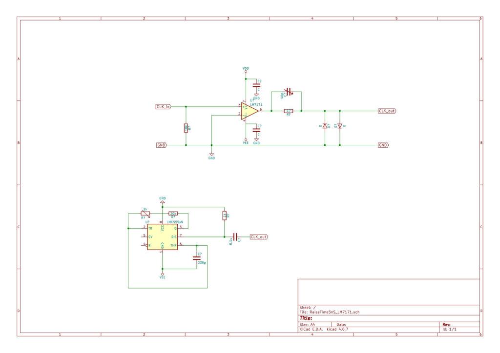 LM7171とLMC555を使ったRisetime<5nSの矩形波発生器